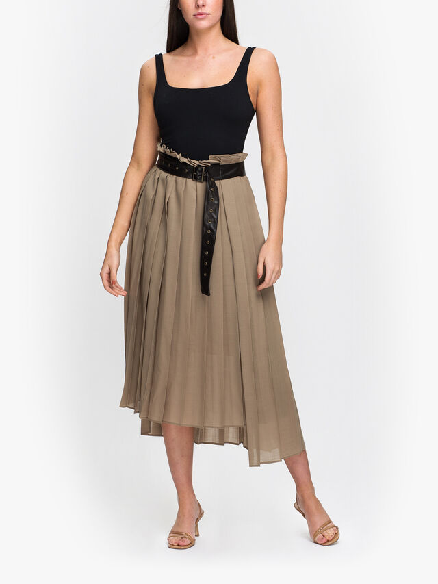 Wool Viera Pleated Skirt