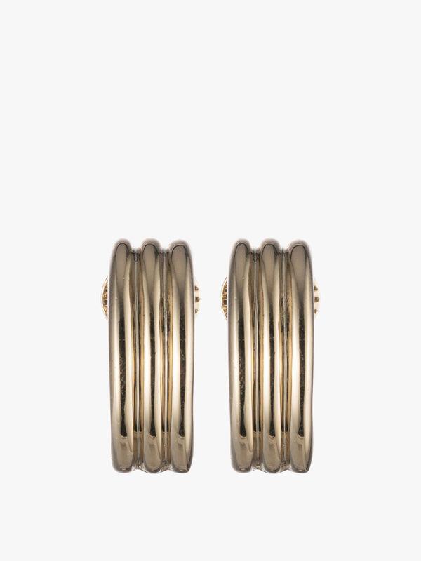 Statement Gold Tone Clip On Hoop Earrings