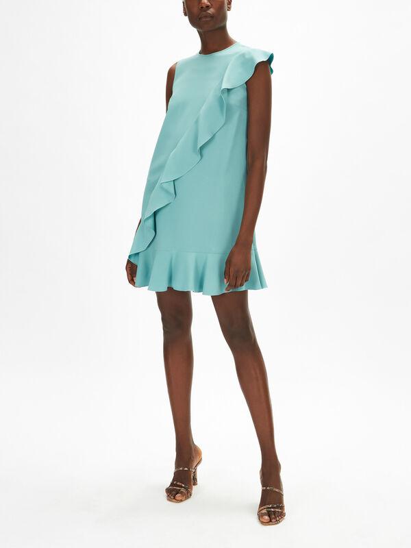 Ruffle Detail Crepe Silk Dress