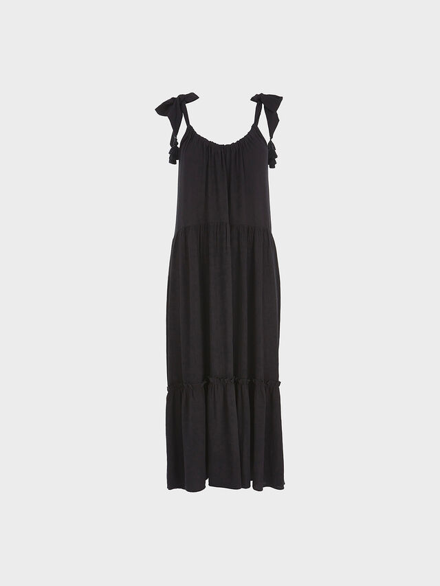 Black Tiered Beach Maxi Dress