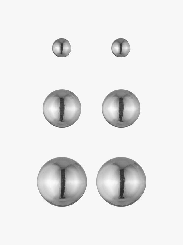 Silver Ball Metal Earring Studs
