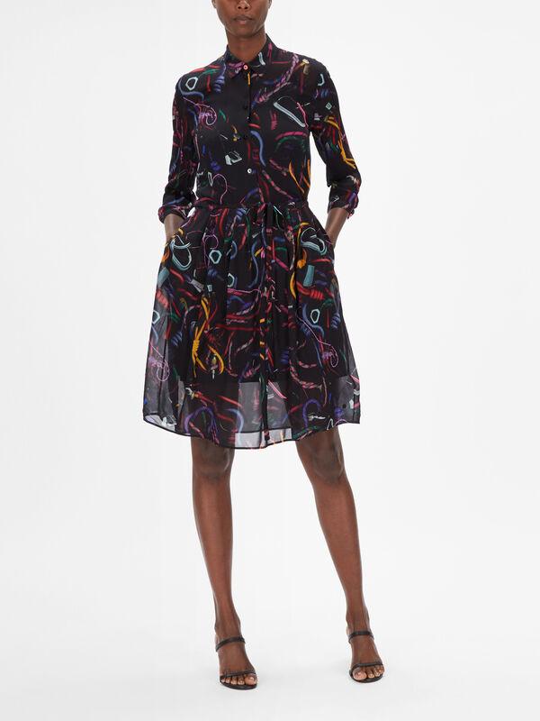 Abstract Print 3/4 Sleeve Midi Dress