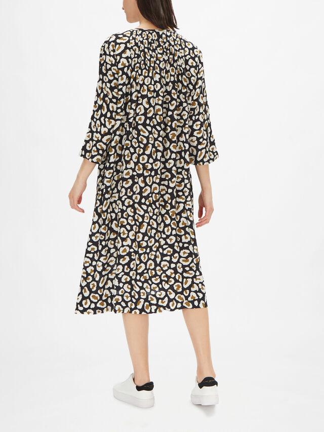 Norise Animal Print Dress with Neck Tie