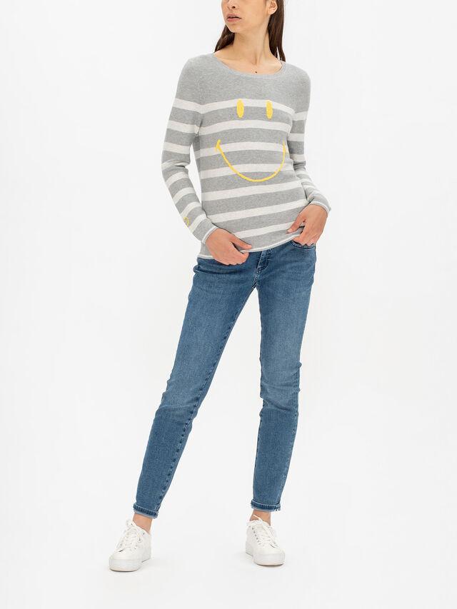 Smiley Stripe Long Sleeve Knit