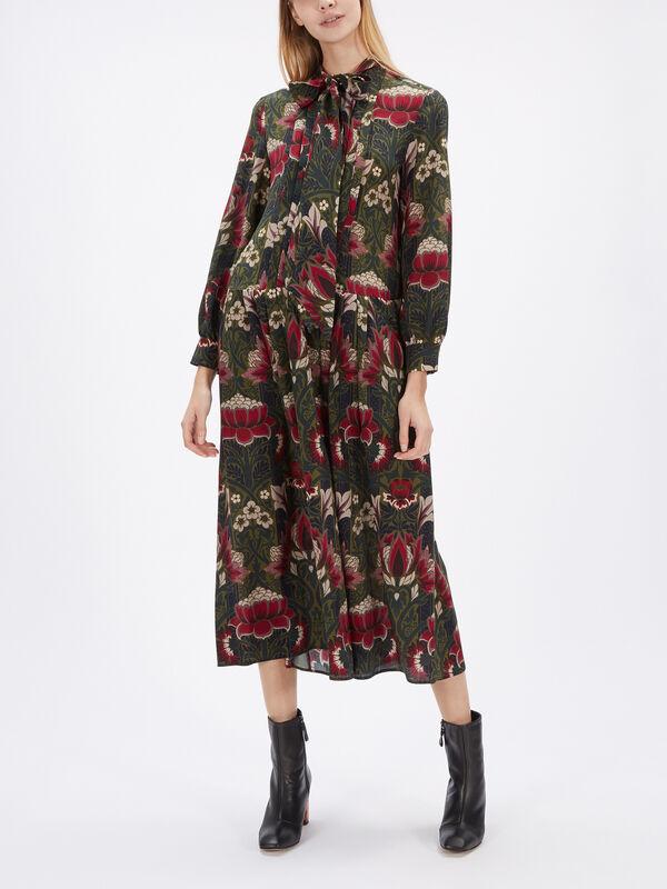 Cerchio Printed Tie Neck Silk Midi Dress