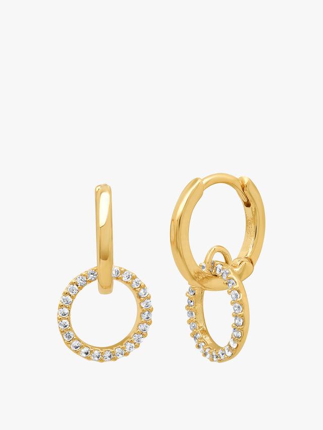 Open Circle Huggie Hoop Earrings