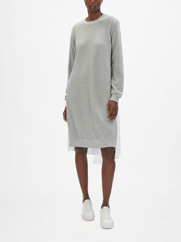 Mix Media Dress with Asymmetric Panels