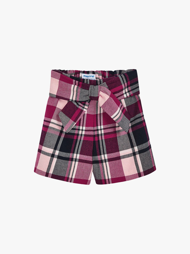Tartan Shorts With Bow