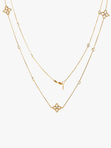 Crystal Lucky Quatrefoil Flower Necklace