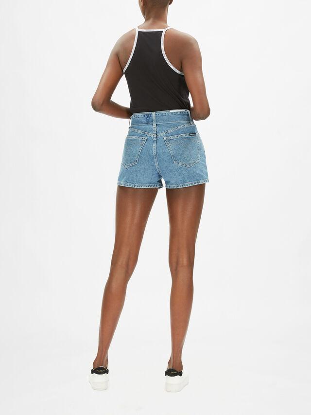 High Rise Belted Denim Shorts