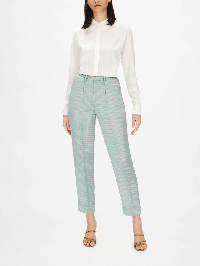 Pied De Poule Fluid Jacquard High Waisted Pants