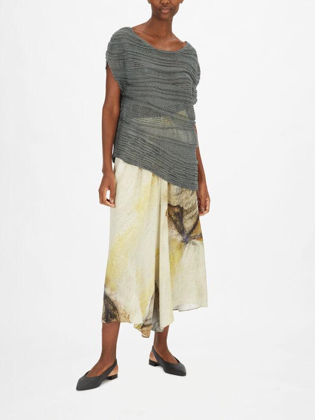 Asymmetric Hem Sheer Stripe Knit
