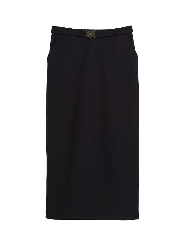 Wool Milano Belted Skirt