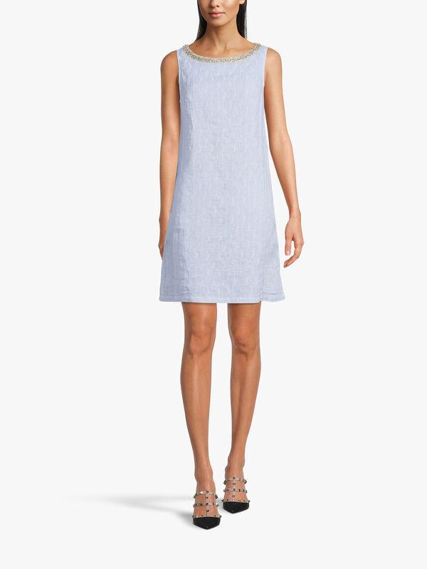 Embellished Neckline Shift Dress