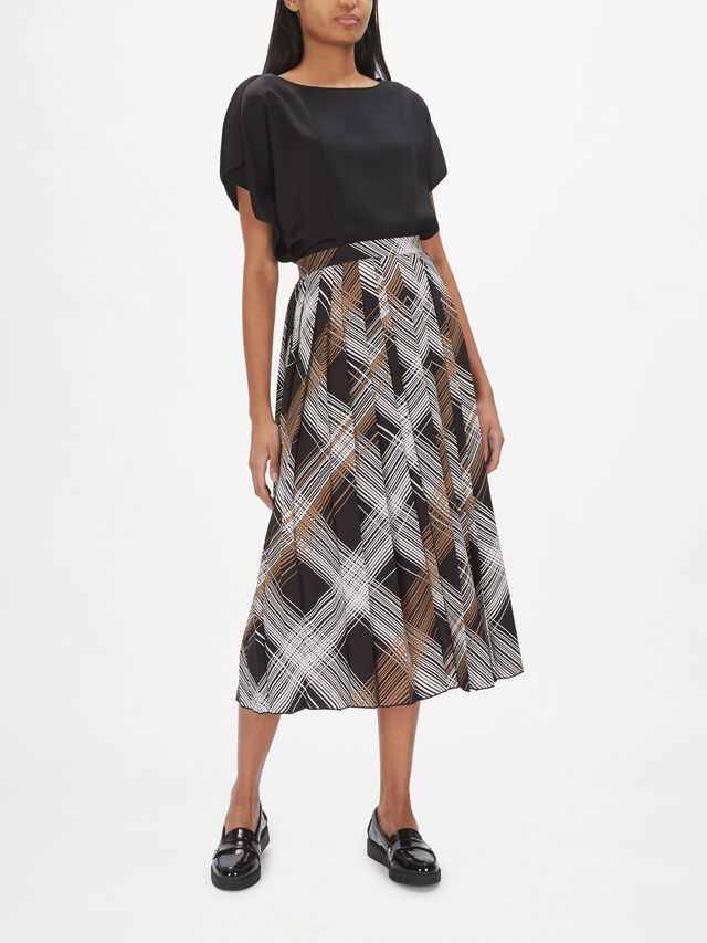 Check Pattern Midi Skirt