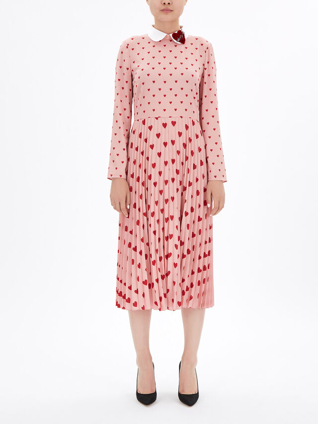 Heart Collar and Print Pleated Dress