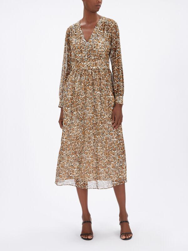 Geneve LS Silk Leopard Print Dress