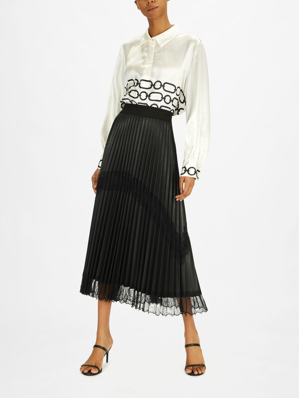 Cannes Pleated Midi Skirt with Lace Detail