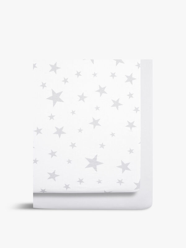 Crib Fitted Sheets Stars 2PK