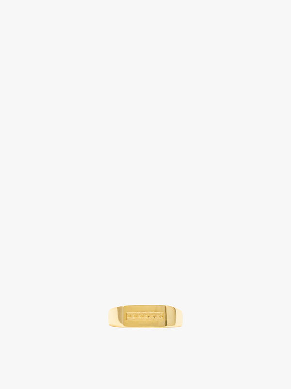 Gold Plated Rectangle Signet Ring