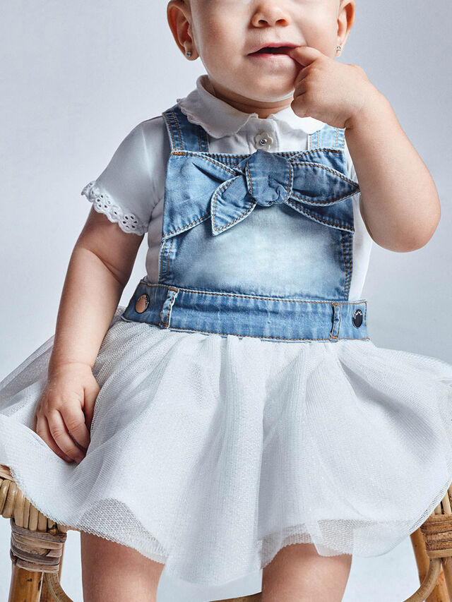 Denim and Tulle Dungaree Dress