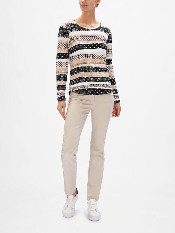 Scoop Neck Patterned Stripe Knit
