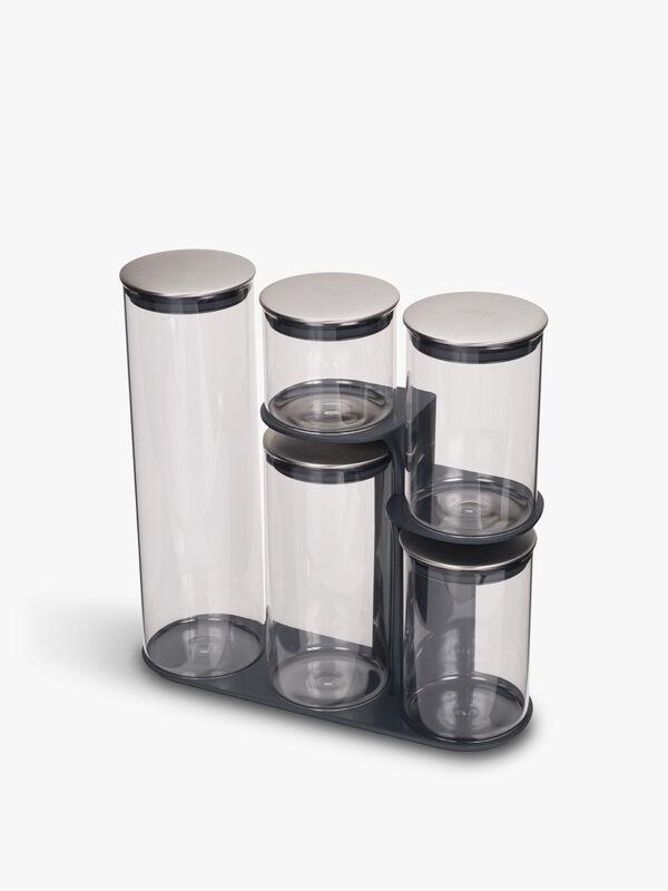 Podium Glass Storage Jar Set with Stand