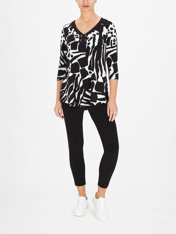 Monochrome Print V Neck Top with Eyelet Fastenings