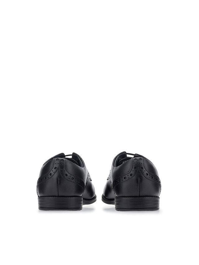 Brogue Pri Black Leather School Shoes