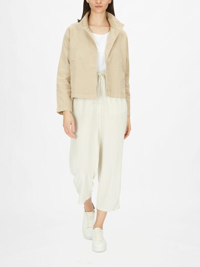 Cotton Hemp Blend Stretch Stand Collar Jacket