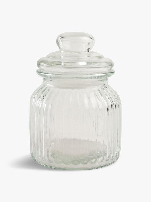 Small Ribbed Glass Jar
