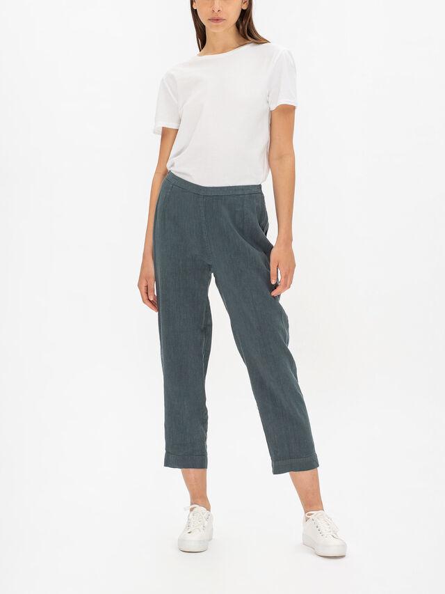 Textured Linen Slim Trouser