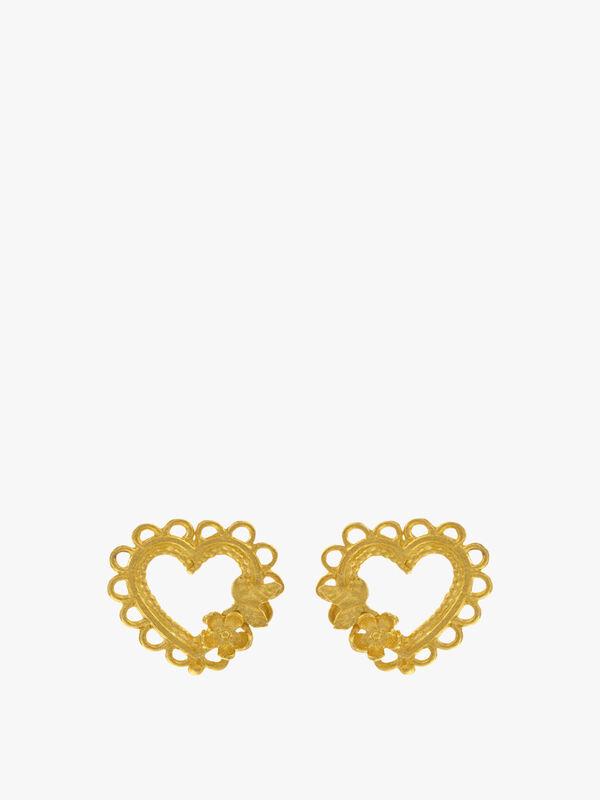 Lace-Edged Heart & Flower Stud Earrings