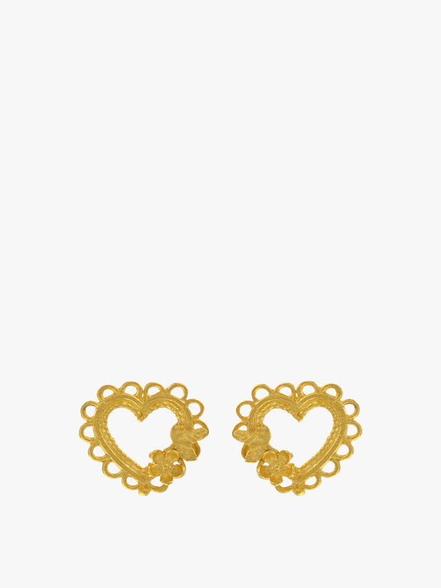 Lace-Edged Heart & Flower Stud Earrings
