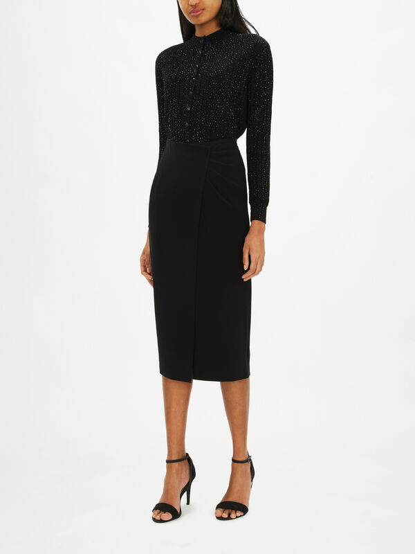 Wrap Over Ruched Side Pencil Skirt