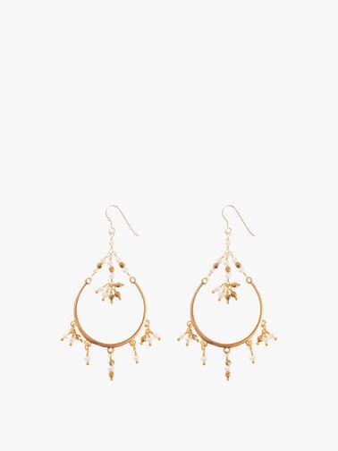 Pearl Hematite Hoop Earrings