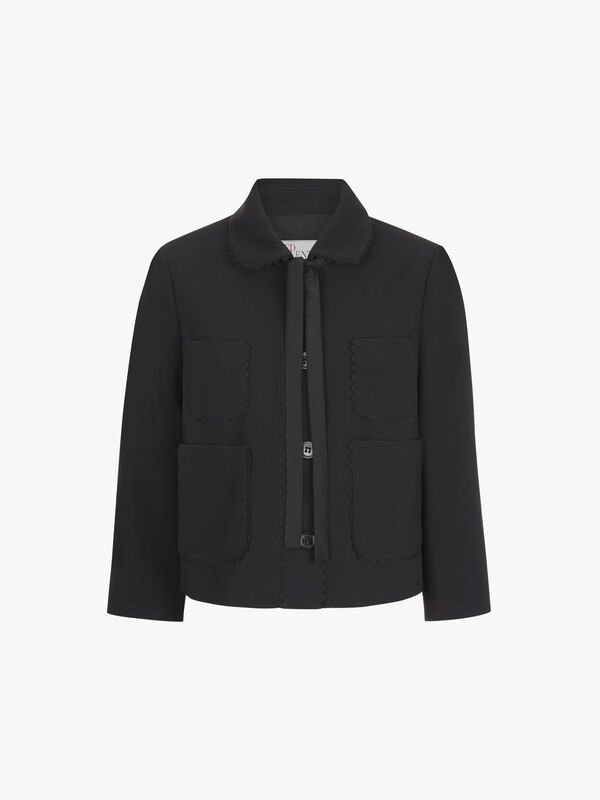 Double Pocket Detail Tie Neck Jacket