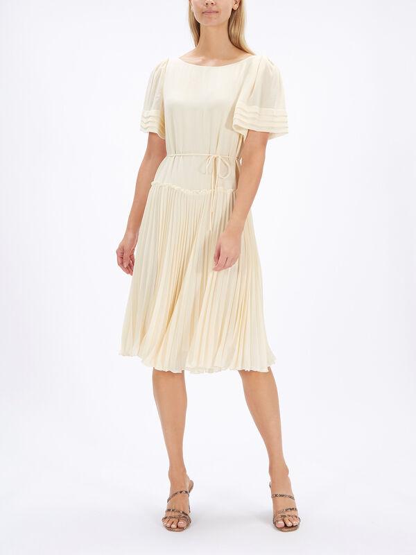 Pleated Short Sleeve Midi Dress