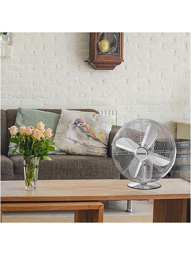 Chrome Desk Fan 12 Inch
