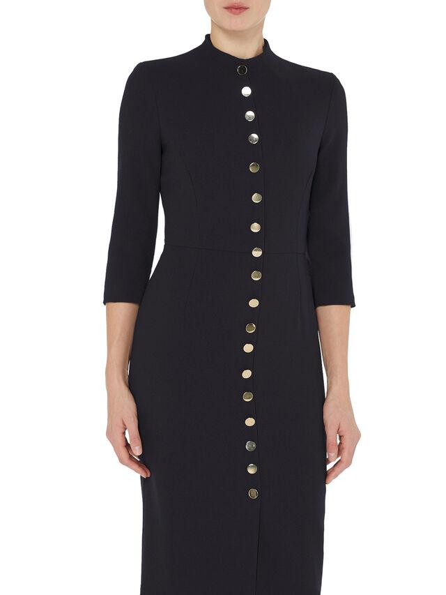 Button Detail Wool Crepe Pencil Dress