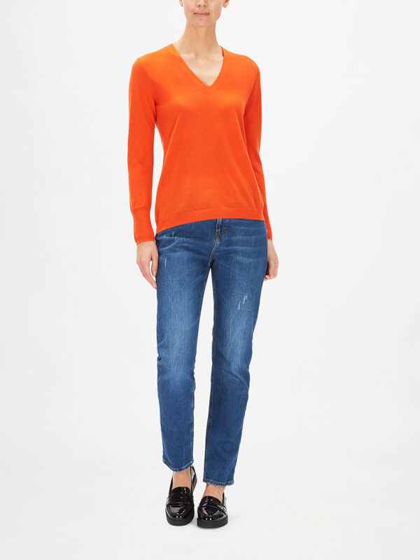 V Neck Fine Knit Jumper