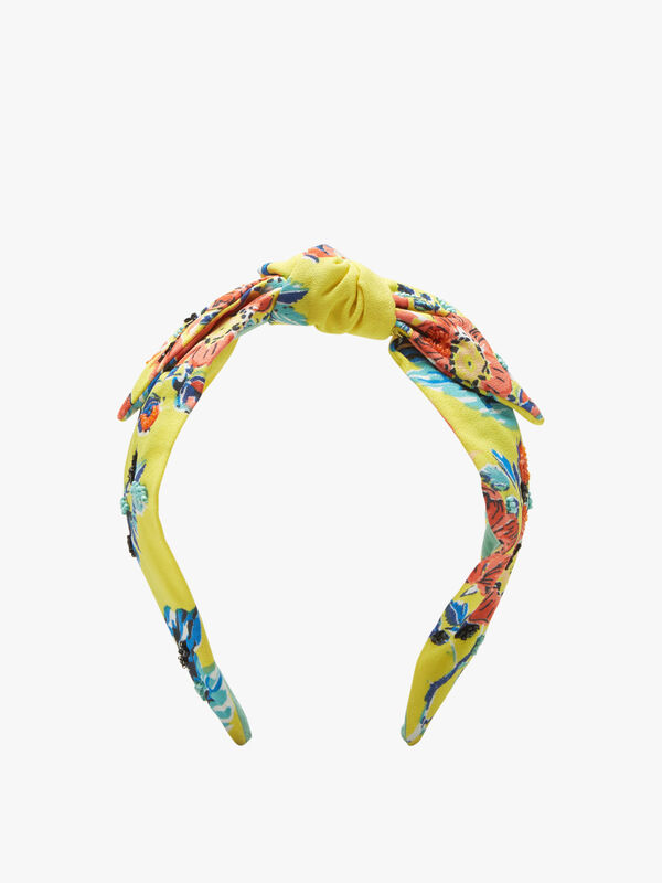 Bow Front Floral Print Headband