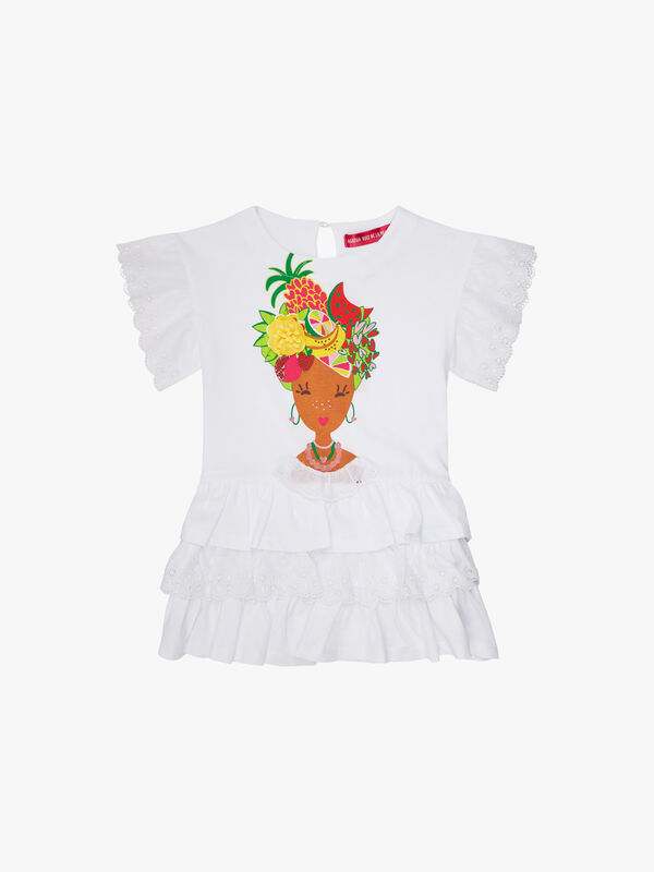 Embroidery Anglais Print Dress