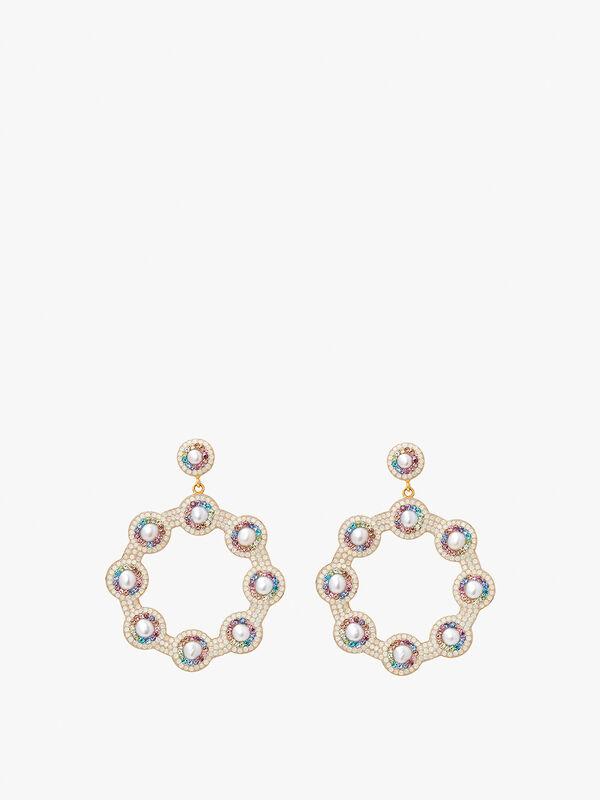 Pearl and Rainbow Hoop Earrings