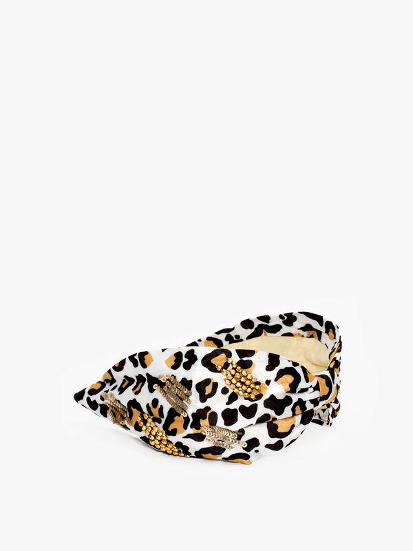 White Leopard Print Embellished Headband