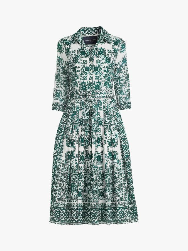3/4 Sleeve Moroccan Embroidery Midi Dress