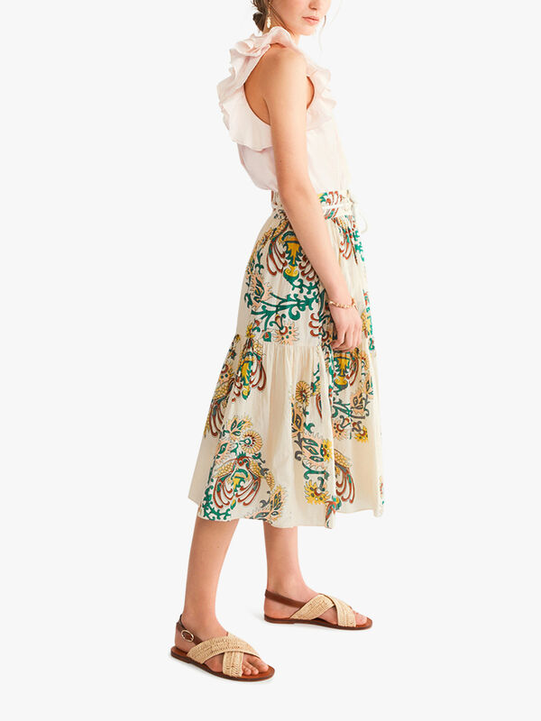 Neha Printed Pleated Skirt