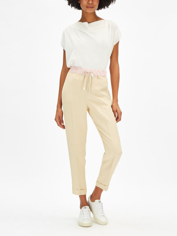 Linen Blend Colour Contrast Trouser