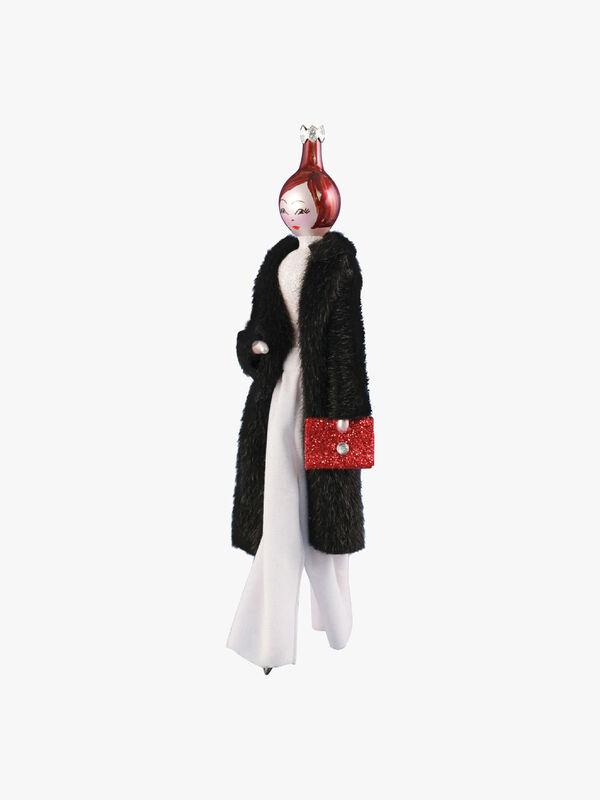 Lady in Long Coat with Glittery Handbag