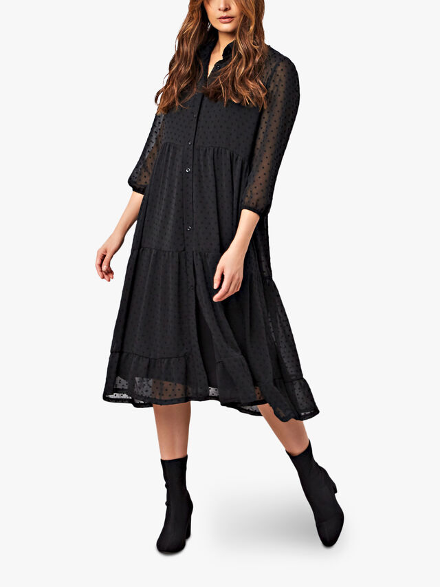 Textured Tiered Shirt Dress